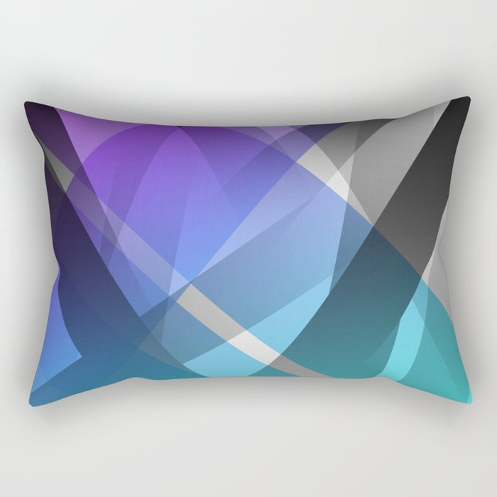 Transparent Abstract Geometric Shapes Purple and Teal Rectangular Pillow