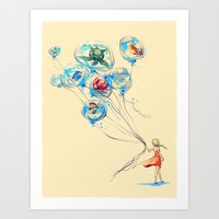 nursery Art Prints featuring Water Balloons by Alice X. Zhang
