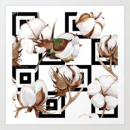 Cotton Flower Pattern 05 Art Print