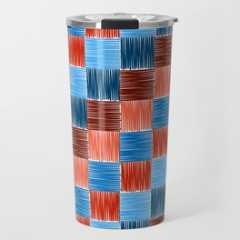 background squares blue red embroidery Travel Mug