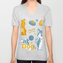 Cute Cat And Dog Unisex V-Neck