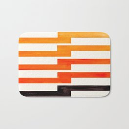 Orange & Black Geometric Minimal Mid Century Modern Lightning Bolt Pattern Watercolor Art Bath Mat