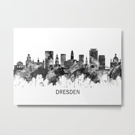 Dresden Germany Skyline BW Metal Print