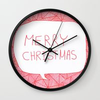 merry christmas Wall Clocks featuring Merry Christmas! by Fimbis