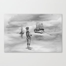 The Kid and the Ships Canvas Print