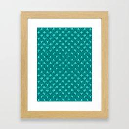 Turquoise on Teal Stars Framed Art Print