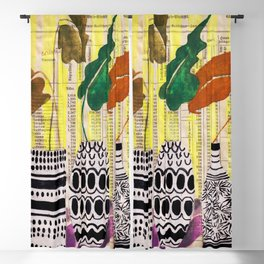 Painting no.8, 3 vases mid century style Blackout Curtain