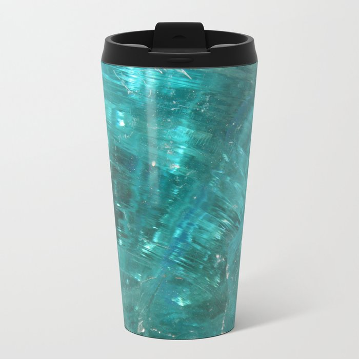 Blue glass Metal Travel Mug