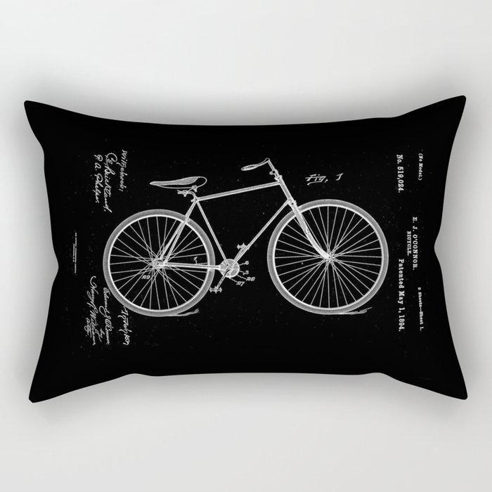 Vintage Bicycle Patent Black Rectangular Pillow