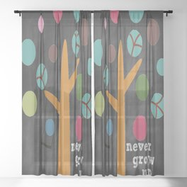 Never Grow Up Tree & Swing Kid's Room Decor Sheer Curtain