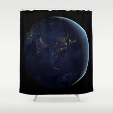 Asia at Night Shower Curtain