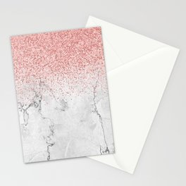Rose Gold Glitter and white marmble Stationery Cards