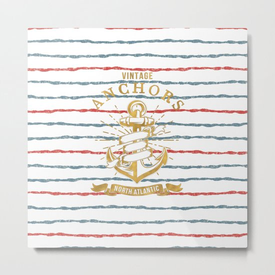 Maritime Design- Nautic Vintage Anchor on stripes in blue and red #Society6 Metal Print