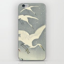 Descending egrets in snow, Ohara Koson iPhone Skin