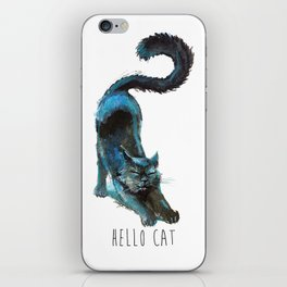Black Blue Cat Stretching Drawing  iPhone Skin