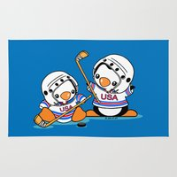 hockey Area & Throw Rugs featuring Ice Hockey Penguins by joanfriends
