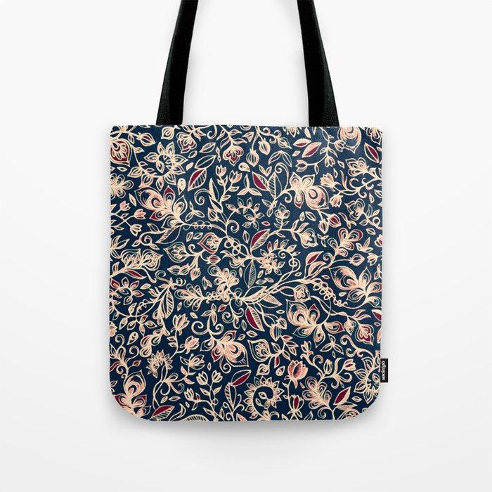 Navy Garden - floral doodle pattern in cream, dark red & blue Tote Bag