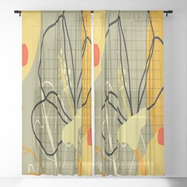 Abstract in Yellow and Grey Sheer Curtain