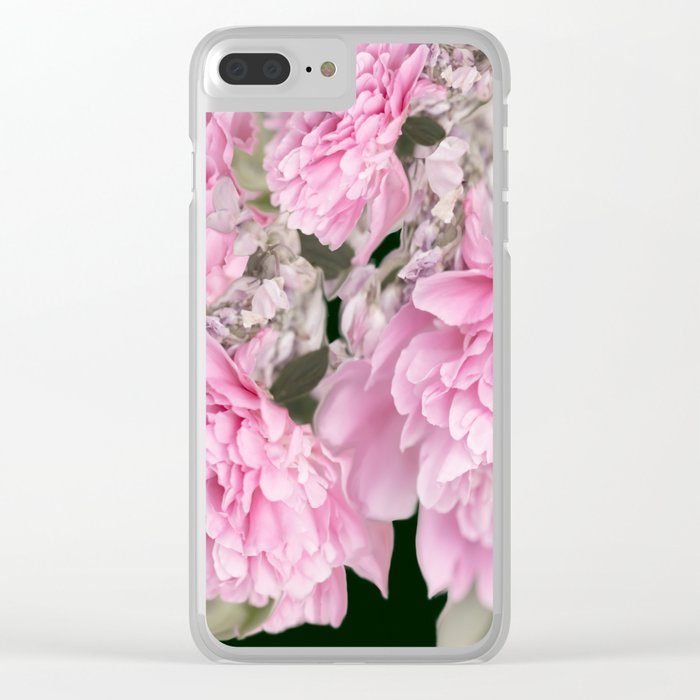 Pink Bouquet On A Black Background  #society6 #buyart Clear iPhone Case