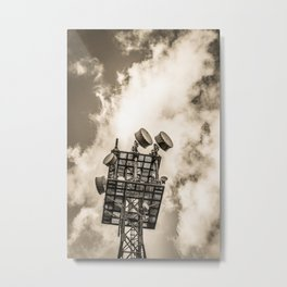 Radio Tower Cloudy Sky sepia Metal Print