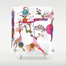 Funky Wondering Birds Shower Curtain