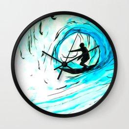 Lone Surfer Tubing the Big Blue Wave Wall Clock