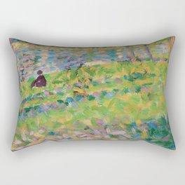 """Georges Seurat  """"Paysage, homme assis (étude pour Un Dimanche d'été à l'Ile de La Grande Jatte)"""" Rectangular Pillow"""