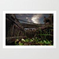 old burnt bridge Art Print
