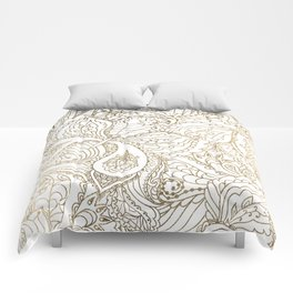 Elegant hand drawn white faux gold luxury floral Comforters