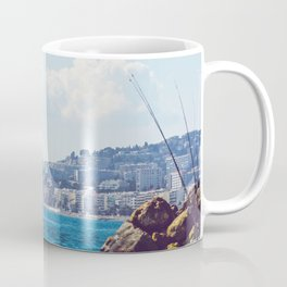 Fishing rods at a beach in spring Coffee Mug
