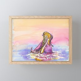 The hippopotamus / traditional watercolor painting Framed Mini Art Print