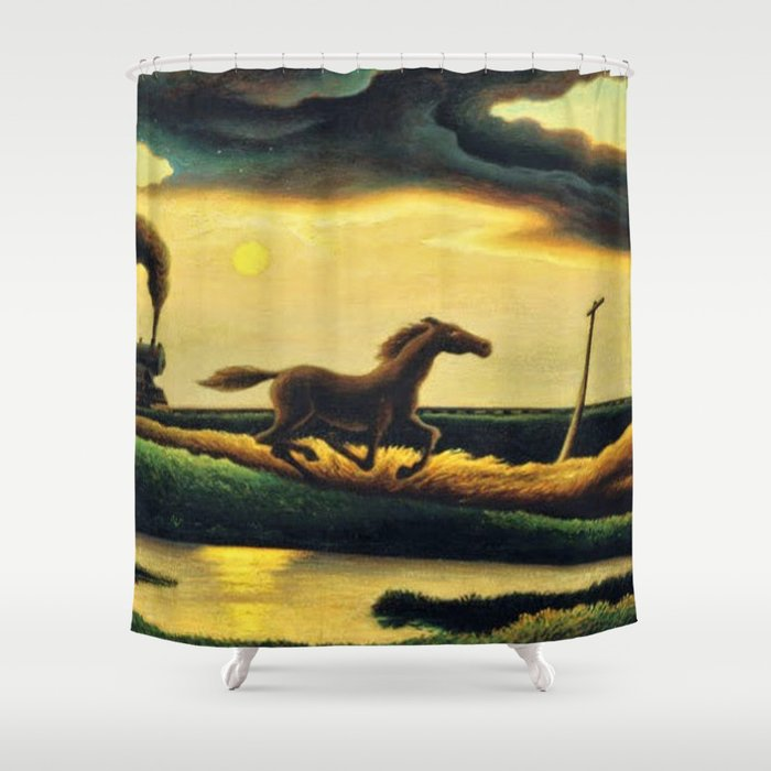 Classical Masterpiece 'The Race' - Horse and Train by Thomas Hart Benton Shower Curtain