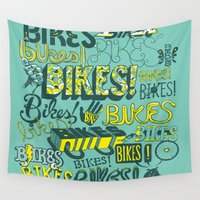 bikes Wall Tapestries featuring Bikes! by Matthew Fleming