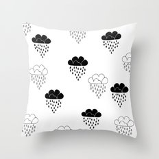 Cute clouds balck and white Throw Pillow