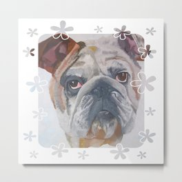 American Bulldog Portrait Vector With Decorative Border Metal Print