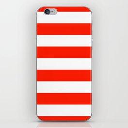 Fiesta Red and White Wide Horizontal Cabana Tent Stripe iPhone Skin