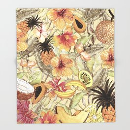 My Sepia Tropical Summer Hibiscus And Fruits Garden - Jungle Pattern Throw Blanket