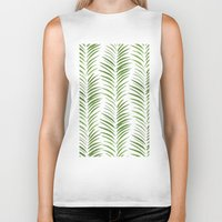 green pattern Biker Tanks featuring Herringbone Green Nature Pattern by Maioriz Home