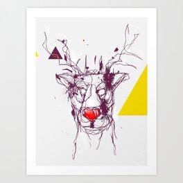 Red nose raindeer Art Print