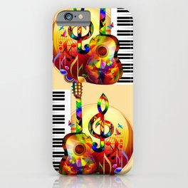 Colorful  music instruments painting, guitar, treble clef, piano, musical notes, flying birds iPhone Case