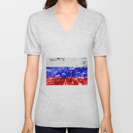 Extruded Flag of Russia Unisex V-Neck