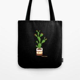 Flowering Cactus on Black Background Tote Bag