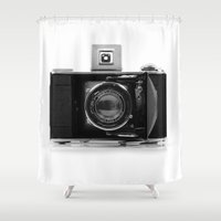 camera Shower Curtains featuring camera by Viktor Andersson