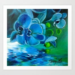 Blue Orchid Refletions Art Print