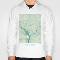 washington Hoodies featuring Washington Map Blue Vintage by City Art Posters