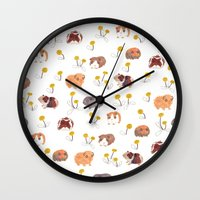 pigs Wall Clocks featuring Guinea Pigs by jo clark