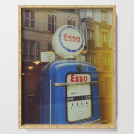 Old Blue Fuel Pump and french facades - Fine Art Photography Serving Tray