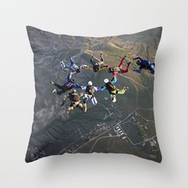 Sky Divers Throw Pillow