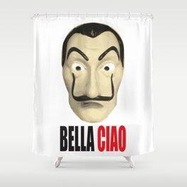 Dalí Mask La Casa de Papel Bella Ciao Shower Curtain
