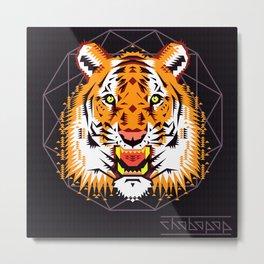 Geometric Tiger Metal Print
